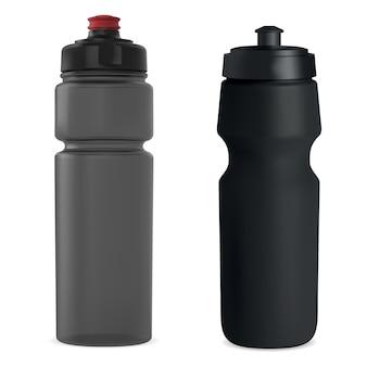 スポーツウォーターボトル。プラスチック製の飲み物のボトルの空白。再利用可能なフィットネスボトルテンプレート。自転車用哺乳瓶、アドベンチャー用品。ハイキング魔法瓶、透明なオブジェクト