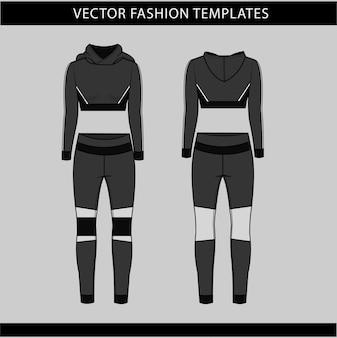 스포츠 착용 패션 플랫 스케치 템플릿, 피트니스 아웃 전면 및 후면보기