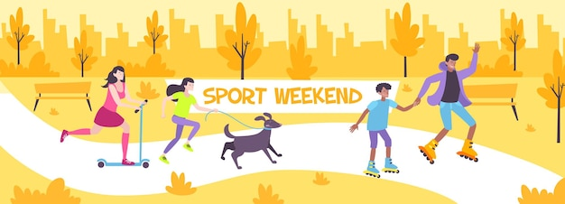 애완 동물과 함께 도시 공원에서 산책하고 롤러 스케이트 그림에 스케이트 가족과 함께 스포츠 주말 평면 구성,