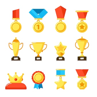 Sport winner trophy award, gold championship goblet and awarding reward cup.