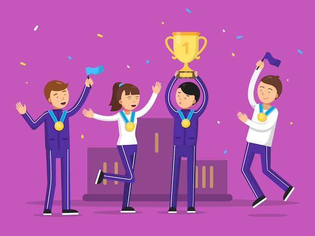スポーツの勝者は彼らの勝利を祝います。幸福の人々
