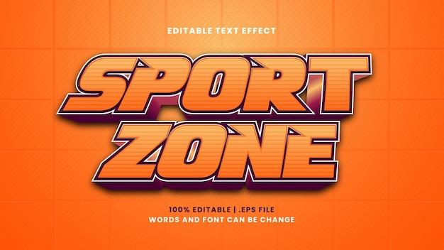 Редактируемый текстовый эффект спортивной зоны в современном 3d стиле