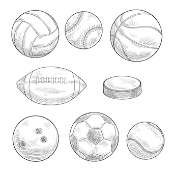 Sporting balls and puck isolated sketches