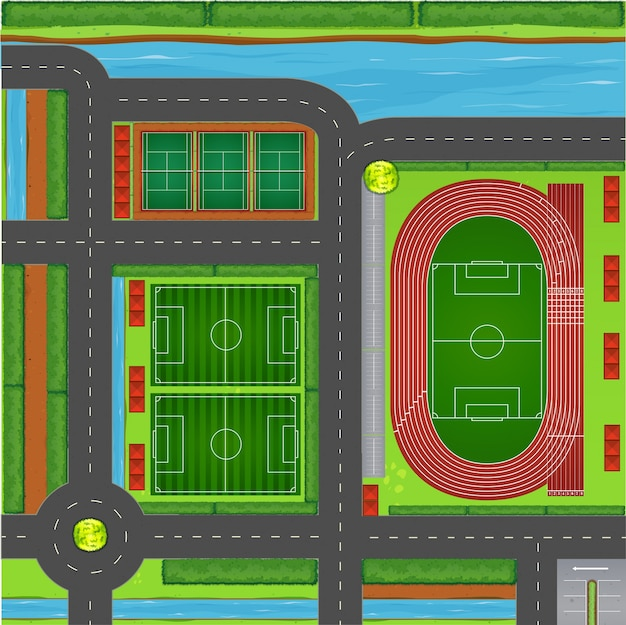 Sporting complex aerial view