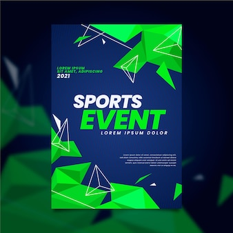 Sporting event poster with geometric neon green shapes