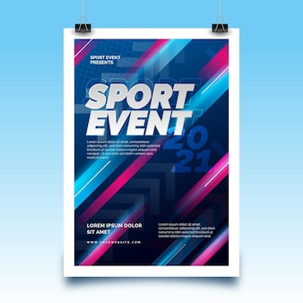 Sporting event poster with speeding lines