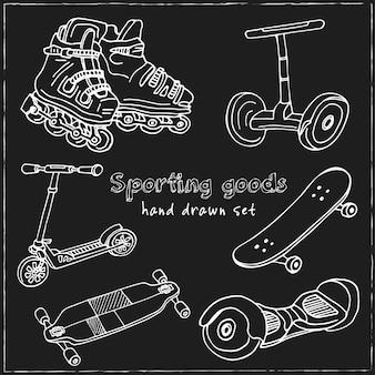 Спортивные товары рисованной набор