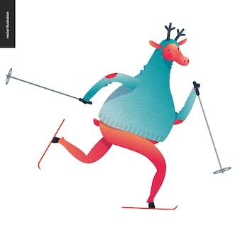 Sporting santa deer skating