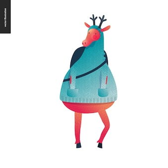 Sporting santa deer standing