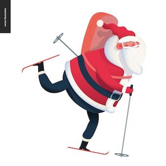 Sporting santa - skiing