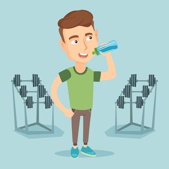 Sportive man drinking water vector illustration.