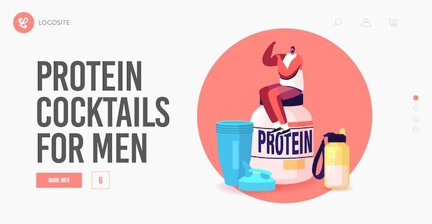 낚시를 좋아하는 영양, 펌핑 근육, 보디 빌딩 방문 페이지 템플릿. 작은 스포츠맨 캐릭터는 체육관에서 거대한 단백질 칵테일 항아리와 셰이커에 앉아 있는 근육을 보여줍니다. 만화 벡터 일러스트 레이 션