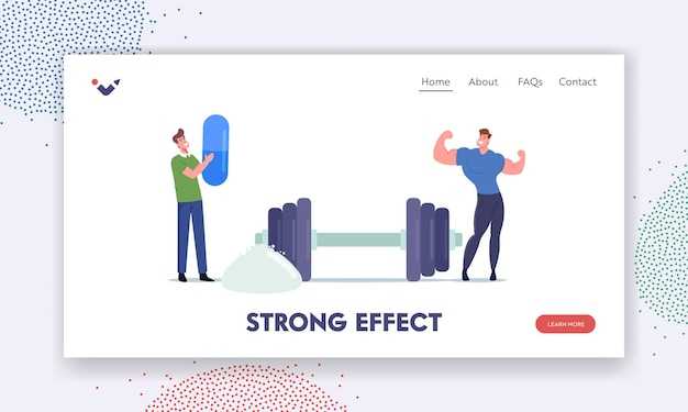 Sportive nutrition, strong effect landing page template. sportsman character in gym demonstrate muscles at barbell and protein or creatine powder. bodybuilding activity. cartoon vector illustration
