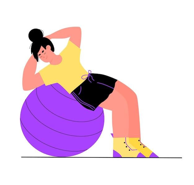 Спортивная женщина, тренирующаяся на плоской карикатуре с мячом