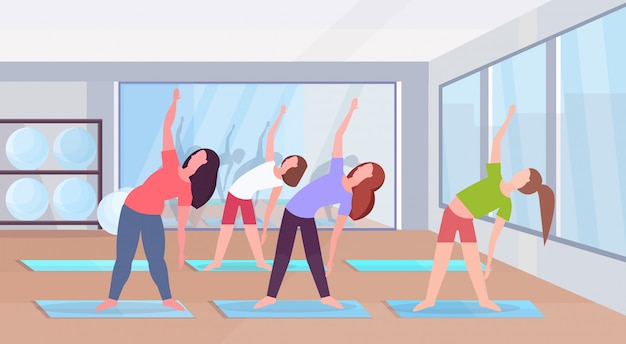 체육관 에어로빅 운동 건강 한 라이프 스타일 개념 평면 현대 헬스 클럽 스튜디오 인테리어 가로 전체 길이 플랫에서 스트레칭 운동을하는 낚시를 좋아하는 여성
