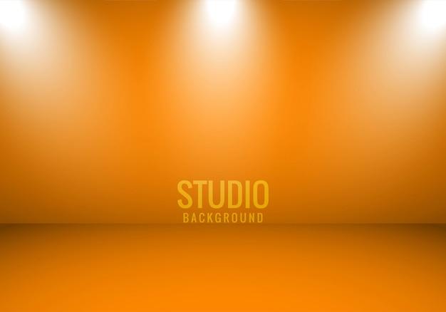 Sportlightとオレンジ色の抽象的な背景スタジオルーム