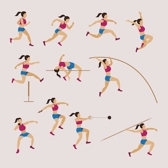Sports athletes, track and field, woman set