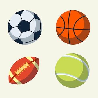 Коллекция спортивных мячей в плоском дизайне