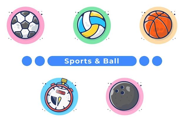 Спортивный мяч иллюстрация в рисованной