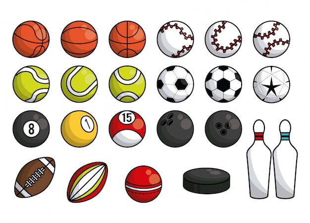 Sports balls equipment collection banner
