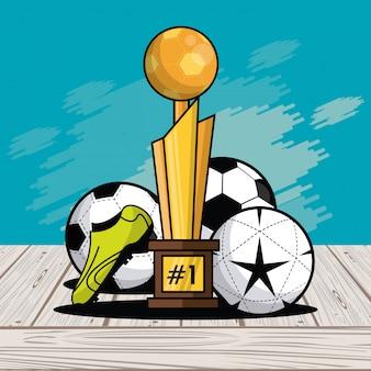 Sports balls equipment trophy card splash background
