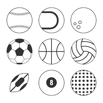 Sports balls outline icon