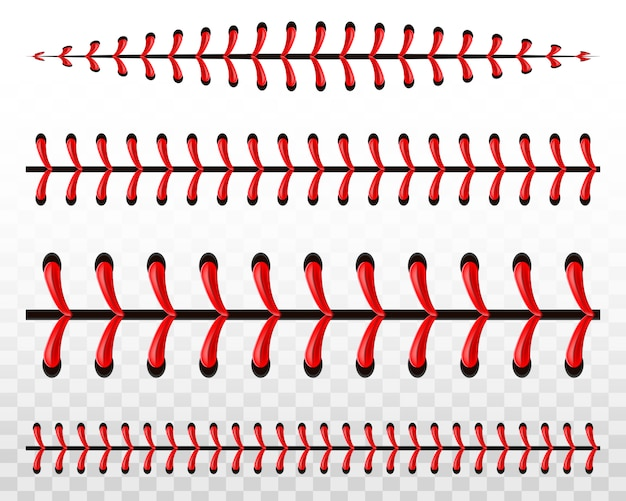 Sports baseball ball stitches, red lace seam.