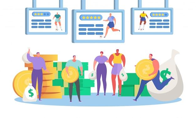 Ставки на спорт, мультфильм крошечные люди ставят спортивные соревнования по футболу, персонаж держит деньги монеты на белом