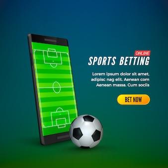 Шаблон веб-баннера для ставок на спорт онлайн. смартфон с футбольным полем на экране и футбольным мячом.
