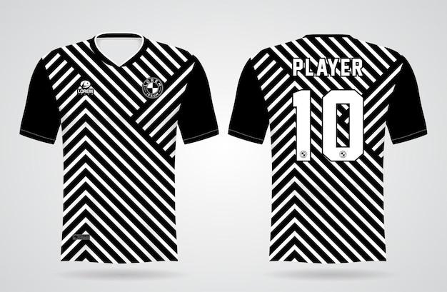 チームのユニフォームとサッカーのtシャツのデザインのためのスポーツの黒と白のゼブラジャージテンプレート
