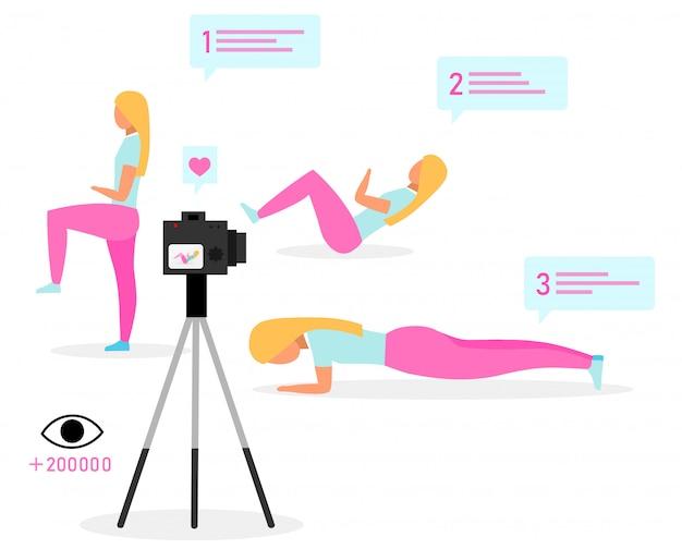 스포츠 블로거 평면 벡터 일러스트입니다. 피트니스 트레이너, 블로거 스트리밍 비디오. 운동 온라인 자습서. 소셜 미디어 블로그 콘텐츠.