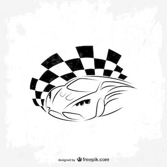 スポーツカーベクトルレースフラグのロゴ