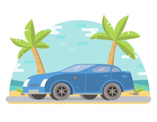 Sports car coupe tropical landscape with palm trees