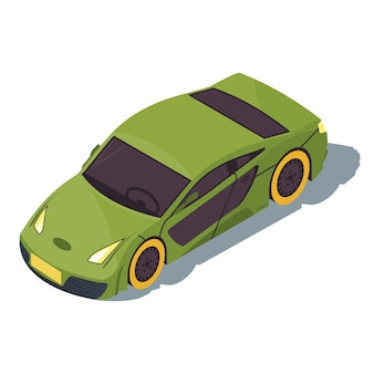 스포츠카 아이소 메트릭 컬러 일러스트입니다. 도시 교통 인포 그래픽. 경주 용 자동차. 녹색 초차. 도시 빠른 자동. 마을 교통. 흰색 배경에 고립 된 자동차 3d 개념
