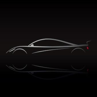 反射と黒の背景にスポーツカーのロゴデザイン。ベクトルイラスト。