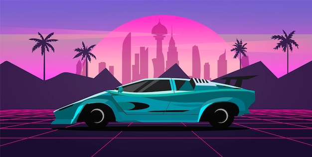 A sports car in a retro wave landscape with a neon grid, city and palm trees. vector illustration in the style of the 80s.