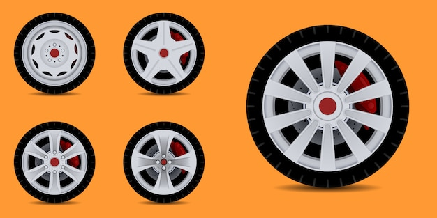 Sports car rim. car tyre collection.