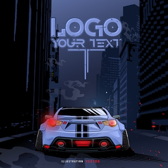 Sports car running in the city. illustration template. blue sports racing car