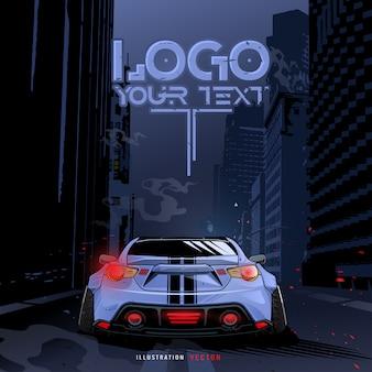 Спортивная машина, бегущая по городу. шаблон иллюстрации. синий спортивный гоночный автомобиль