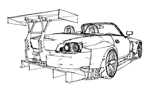スポーツカー。手描きの線形グラフィックスのスタイルでストックイラスト。