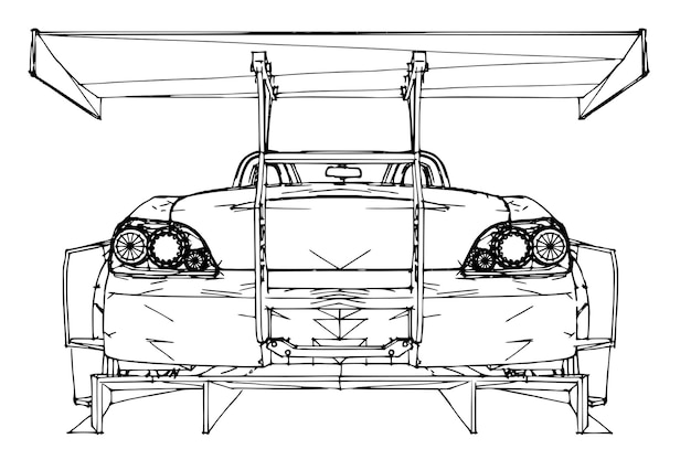 Спортивная машина. иллюстрация в стиле рисованной линейной графики.