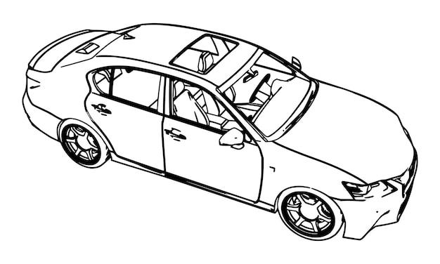 スポーツカー。白い背景の上の黒い等高線のベクトル。