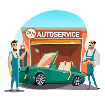 Sports car with flat tire at noctidial autoservice