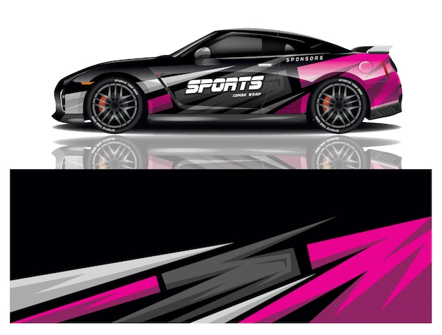 Sports car wrapping decal