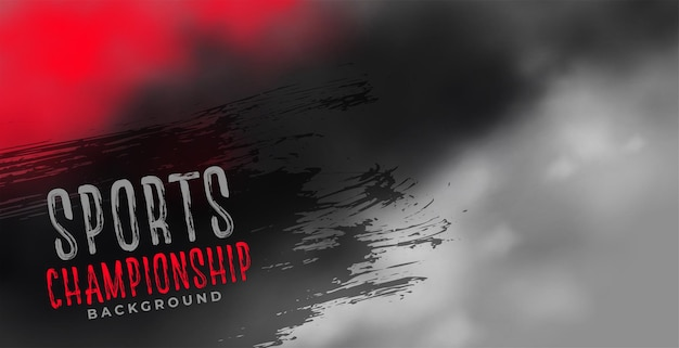 Sports chamionship background with red and black smoky clouds