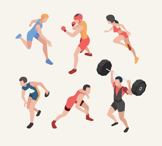Спортивные персонажи. изометрические олимпийские игры игроки бегуны прыгуны тяжелая атлетика велоспорт.