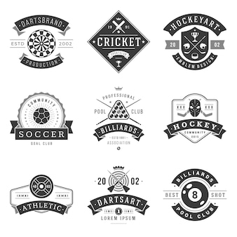 Sports clubs and sections logos set. black emblem of croquet and retro billiards organization. professional training in football contact ice hockey. athletic fitness classes with rest in darts