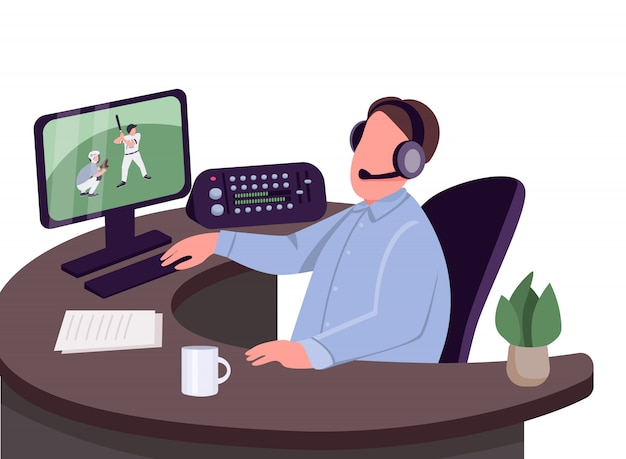 Sports commentator flat color vector faceless character. sportive event commentary isolated cartoon illustration for web graphic design and animation.