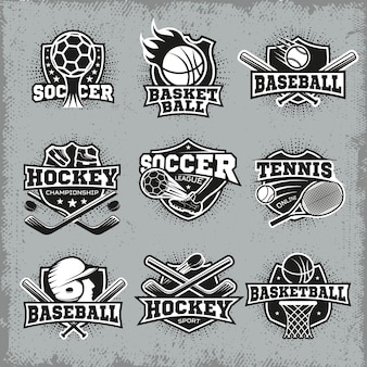 Sports and competitions retro style insignia Premium Vector