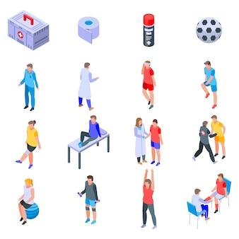 Sports doctor icons set, isometric style